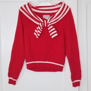 Vintage 80s Red & White Nautical Sailor Sweater